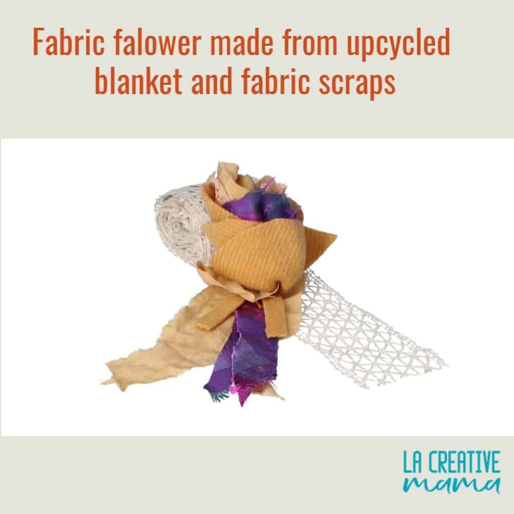 fabric flower made using hand dyed  upcycled wool fabric