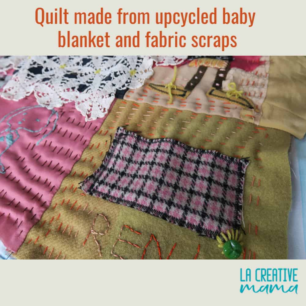 upcycled fabric into  a quilt