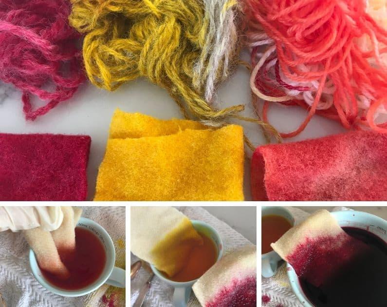 dyeing wool fabric using food coloring dye