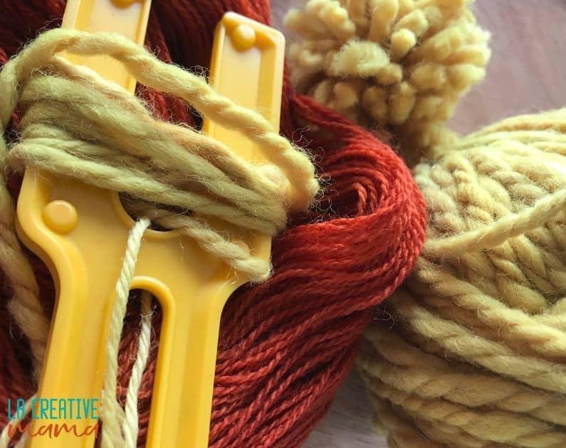 natural dyeing yarn to make pom poms