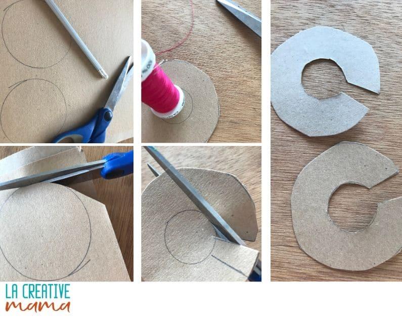 cardboard template to make fluffy  pom pom
