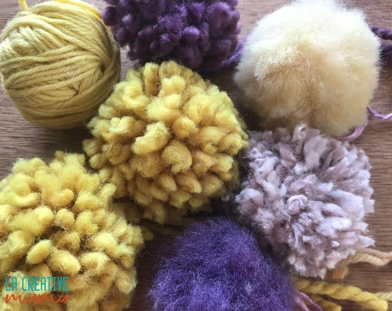 pom poms using natural dyed yarn