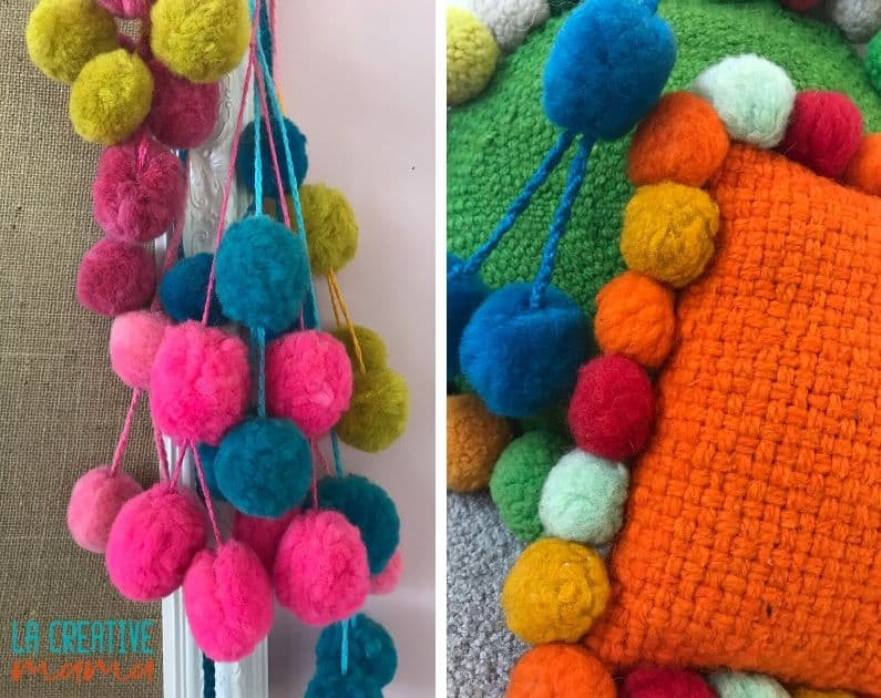 wool roving pom poms on pillows