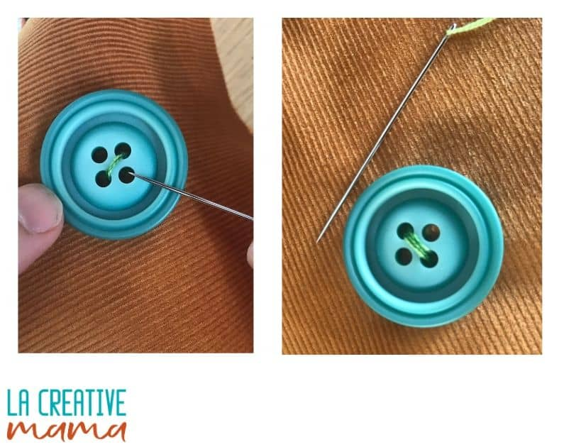 sewing a button on fabric tutorial