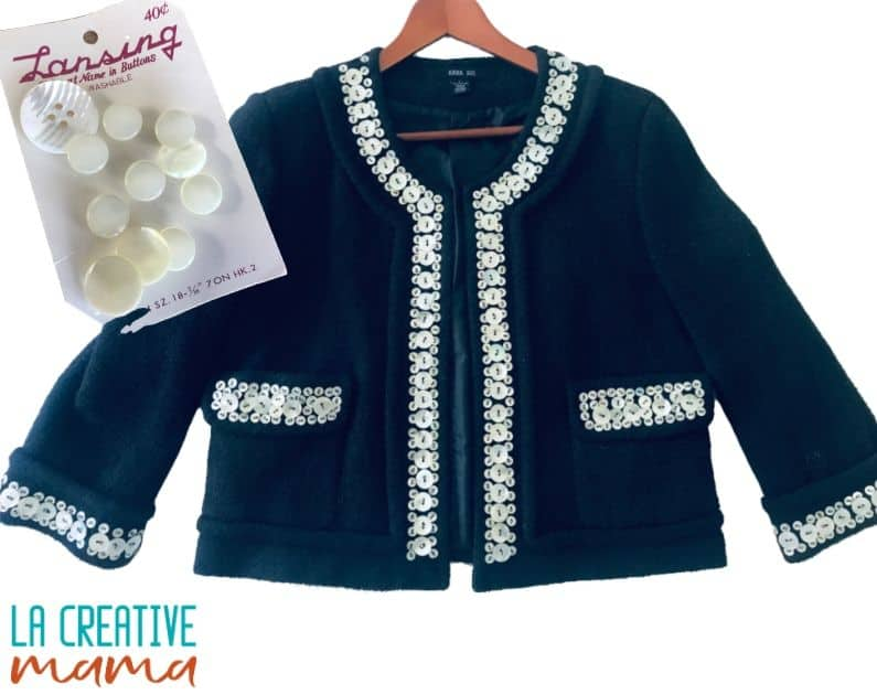 upcycle buttons on a jacket