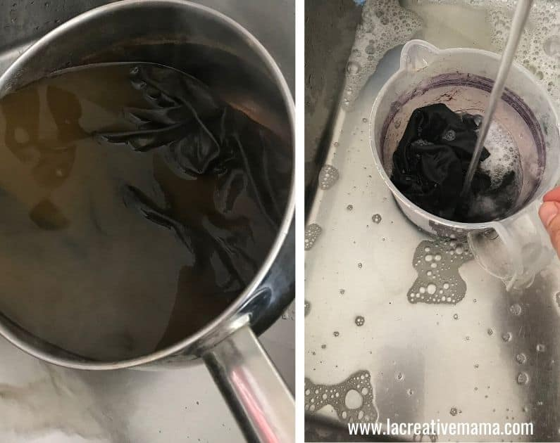 obtaining a black dye from acorns. The result after mixing the gold dye from acorns into the iron water . It gives a natural black color.