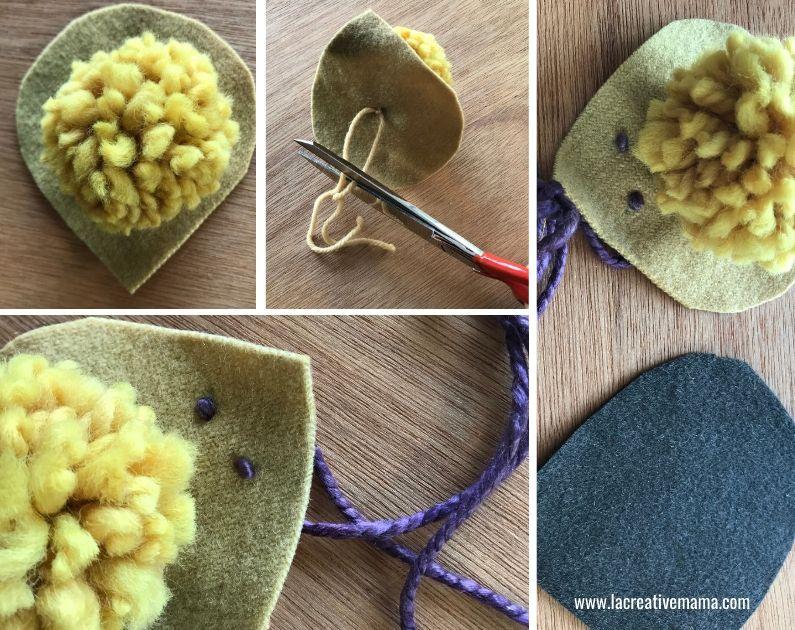 how to make a fabric hedhehog using wool pom poms