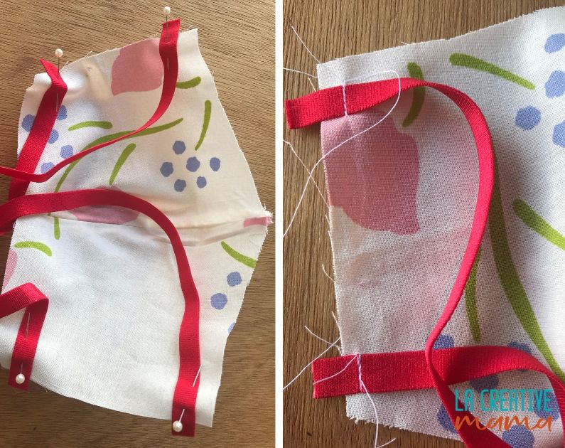 sewing the ribbons on the sides of the face mask