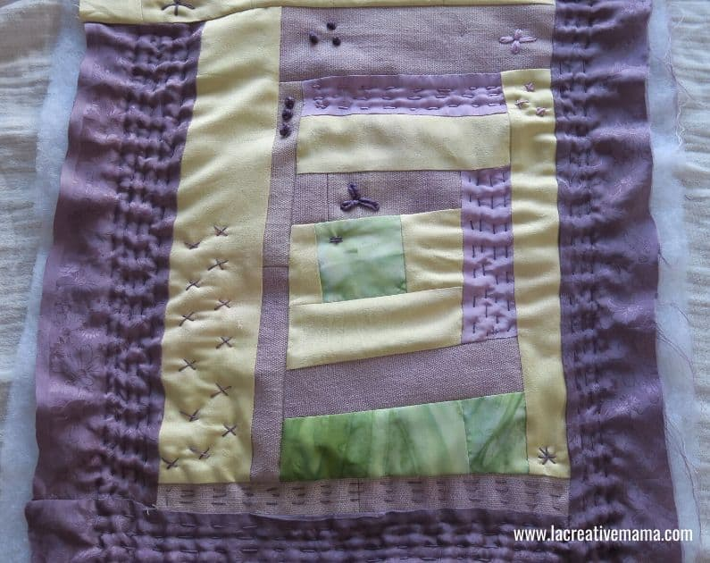 hand quilted mini quilt using natural dyed threads and yarns