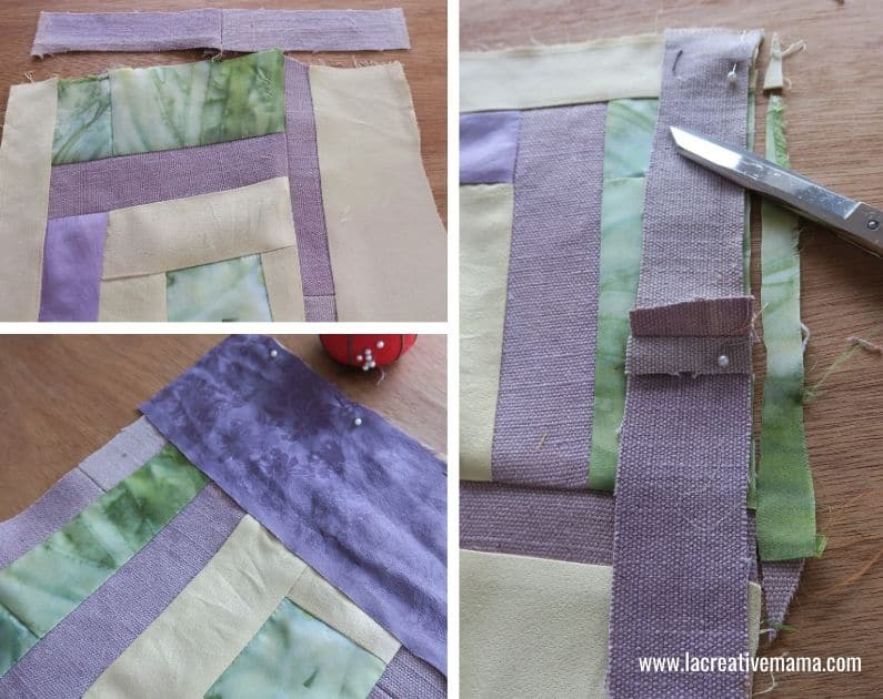 making a simple quilt using fabric scraps and the log cabin quilting block