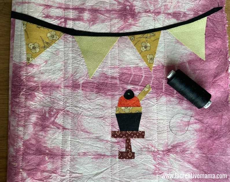 fabric book cover tutorial 21. top stitching the fabric applique patterns