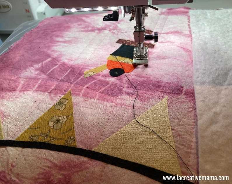 fabric book cover tutorial 22. top stitching the fabric applique patterns