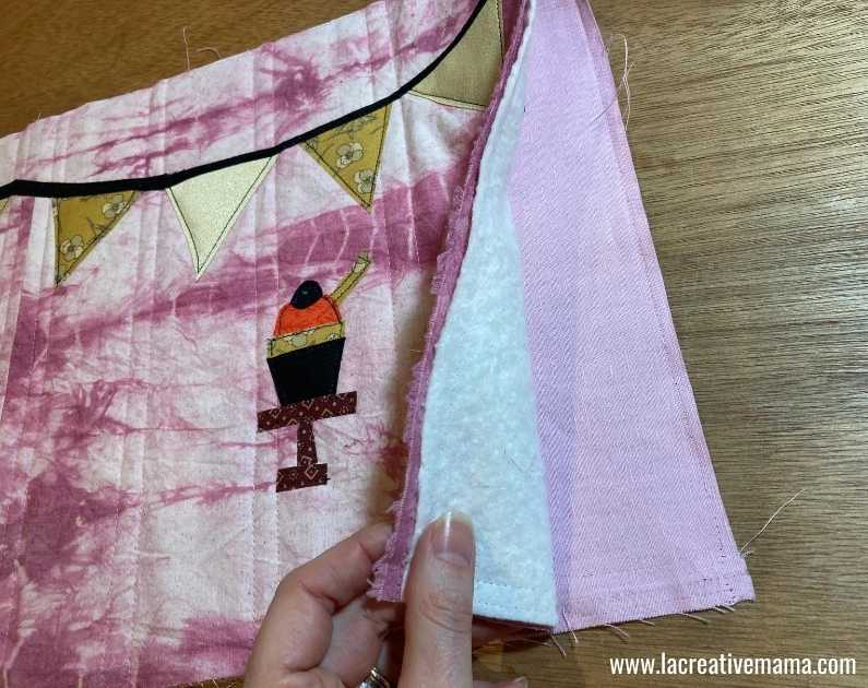 fabric book cover tutorial 35.Sewing the binding to the fabric book