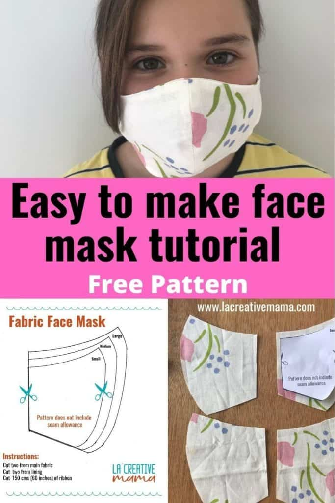 fabric face masks patterns for the whole family in all sizes