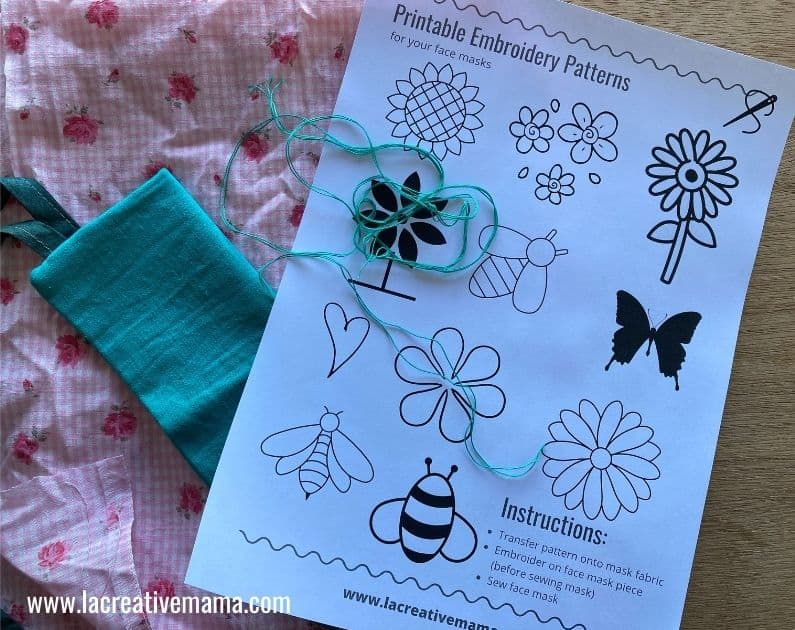free printable embroidery template for fabric face masks