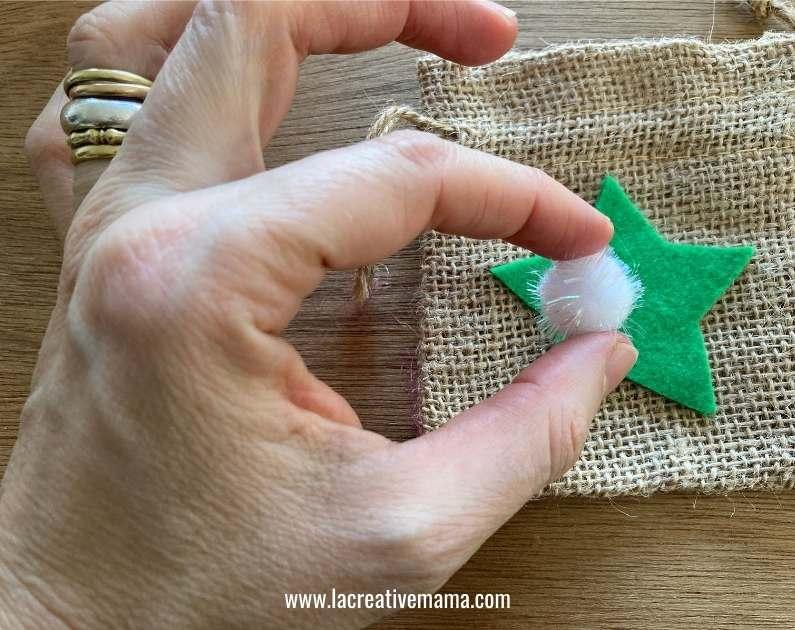 how to make Christmas wishing bags tutorial 4 using the adhesive felt Christmas templates