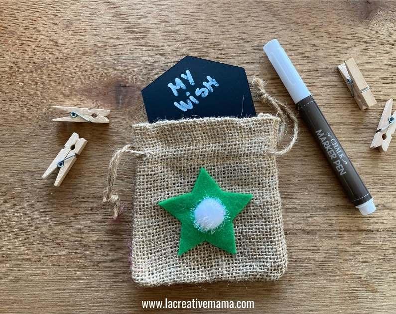 how to make Christmas wishing bags tutorial 5 using the adhesive felt Christmas templates