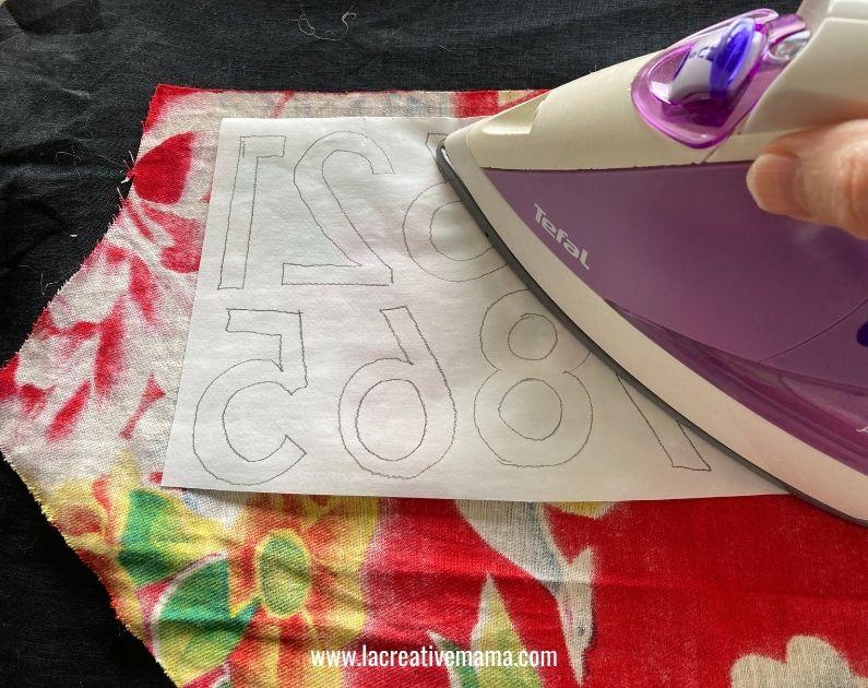 fabric applique on scraps for christmas fabric advent calendar