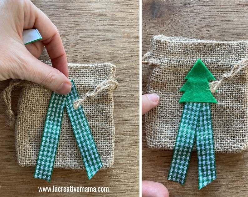 how to make Christmas wishing bags tutorial 7 using the adhesive felt Christmas templates