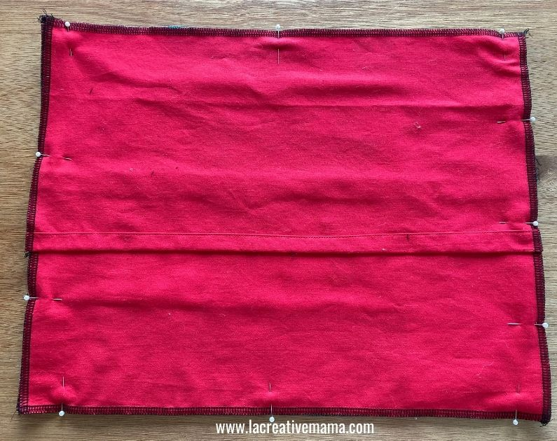 sewing the back pieces to the front quilted pillow top