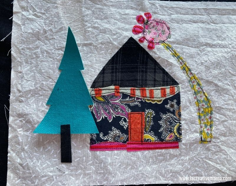 christmas tree pillow. Applique of the christmas tree on fabric collage