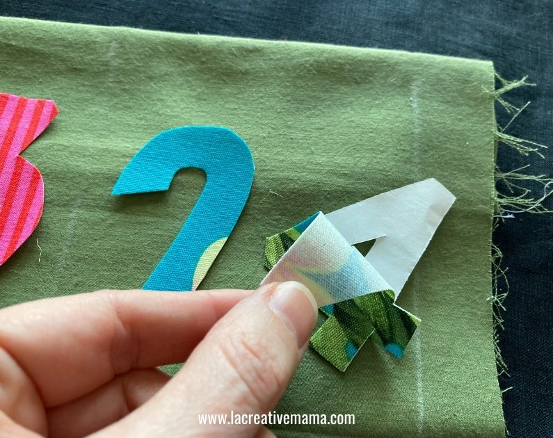 iron on fusing applique on fabric advent calendar pocket