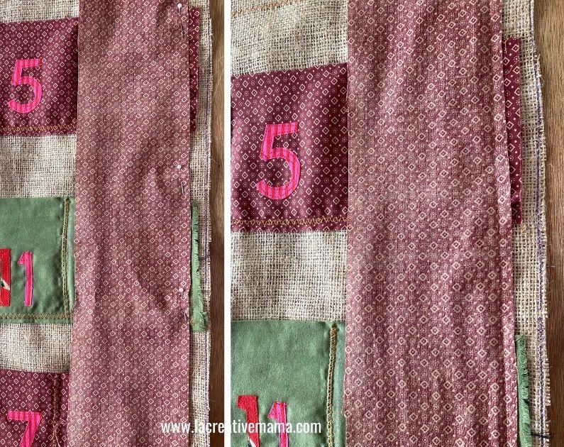 binding the edges of the fabric advent calendar