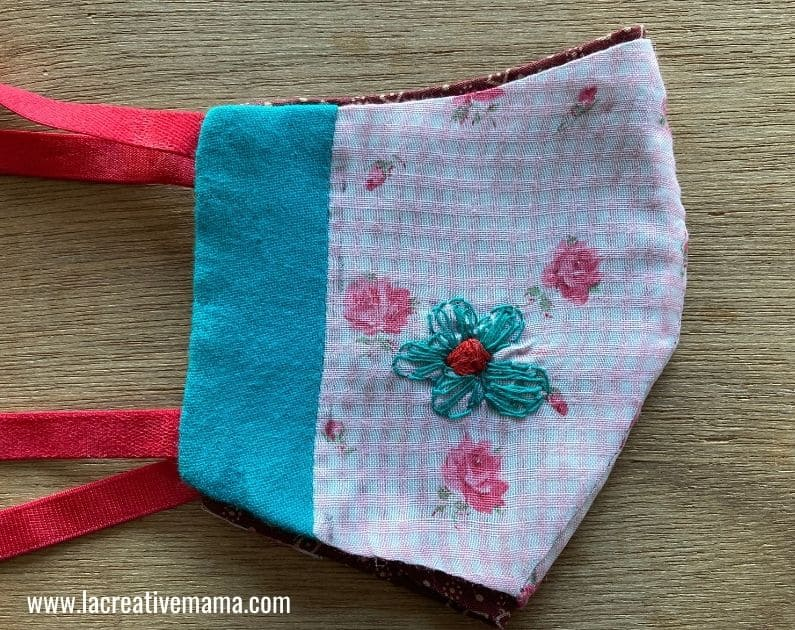 fabric face mask embroidery pattern printable tutorial 6