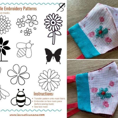 embroidery template for face masks