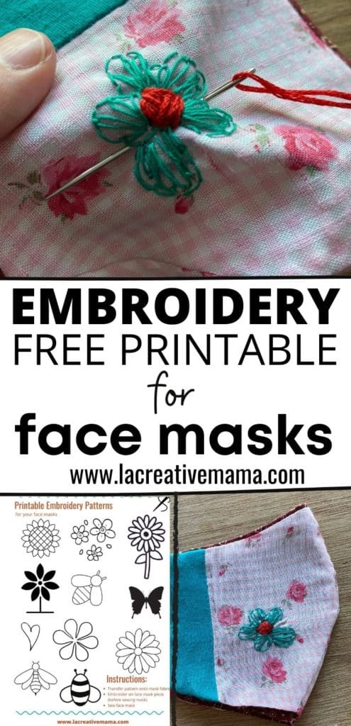 embroidery free printable for face masks pin
