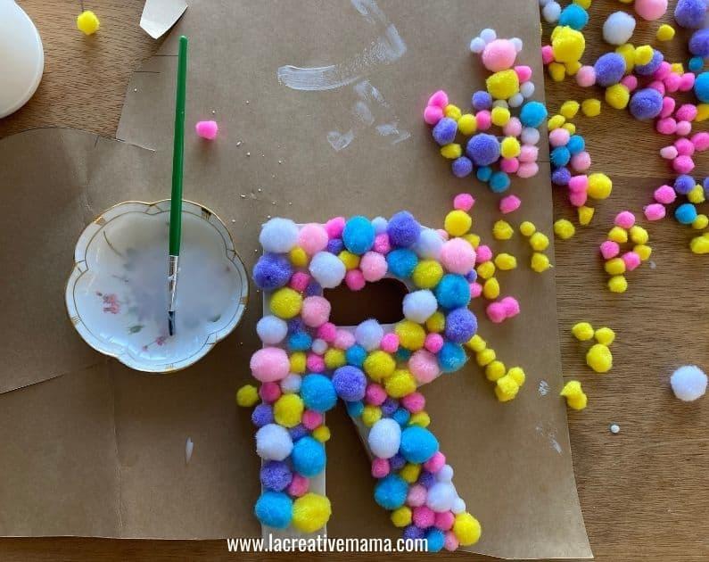 pom pom paper mache letter tutorial 12