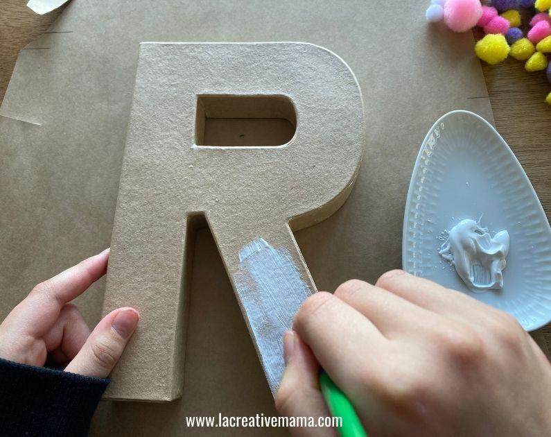 pom pom paper mache letter tutorial 3