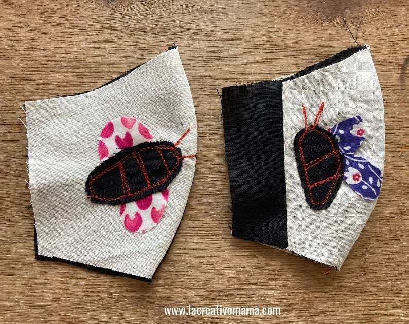 applique on face mask  bumble bee