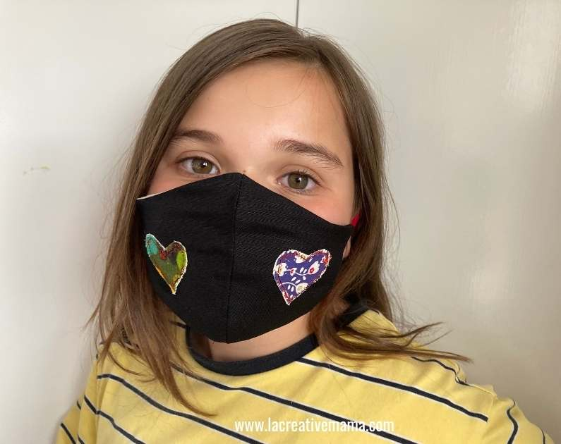 heart applique on face mask
