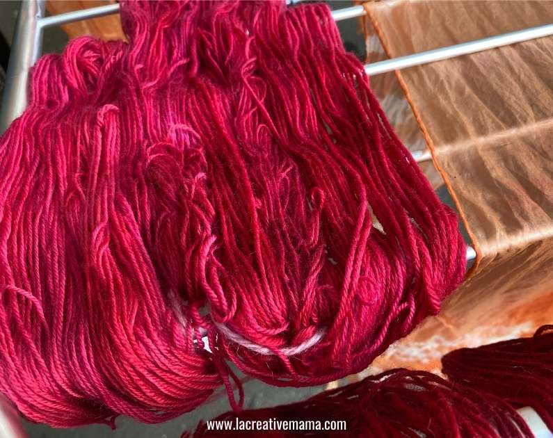 wool yarn dyed with cochineal alum mordant