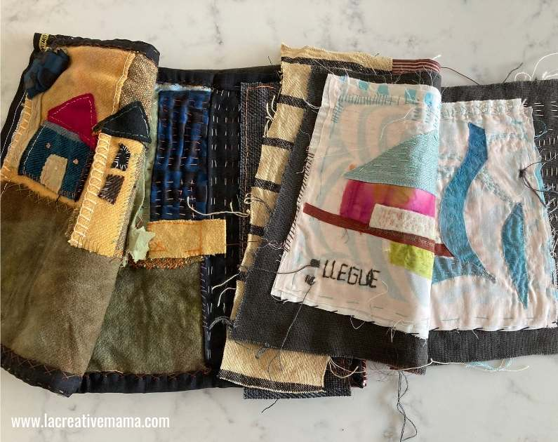 example of fabric applique without using a fusible web. this is a fabric journal made with fabric scraps.