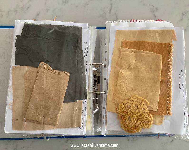 natural dyeing scrapbook with experimentations of cochineal, madder and eucalyptus dyes