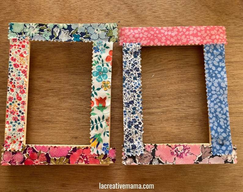 How to decorate a wooden frame with fabric scraps tutorial 13