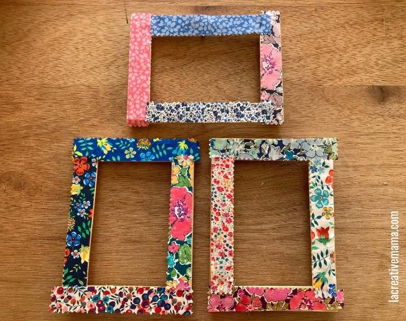 How to decorate a wooden frame with fabric scraps tutorial 14