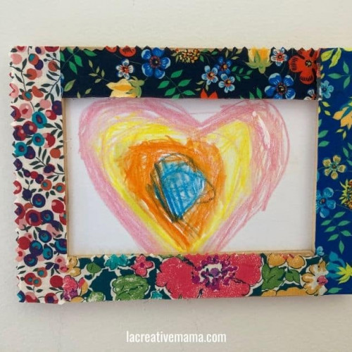 frame decorated with fabric scraps