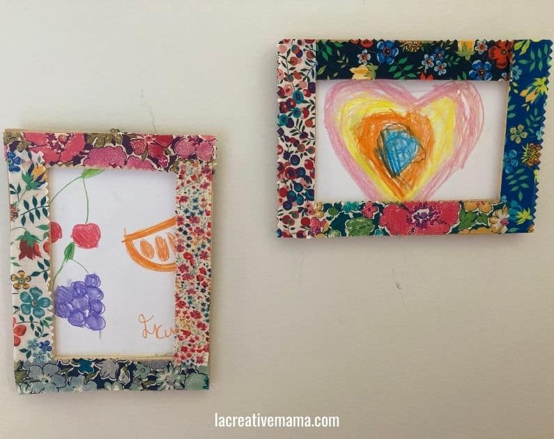 How to decorate a wooden frame with fabric scraps tutorial 16
