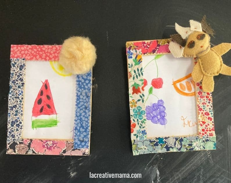 How to decorate a wooden frame with fabric scraps tutorial 18