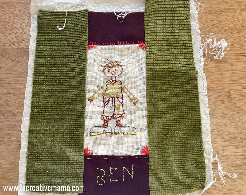 sewing the personalized pillow cover into a pillow for kids rooms