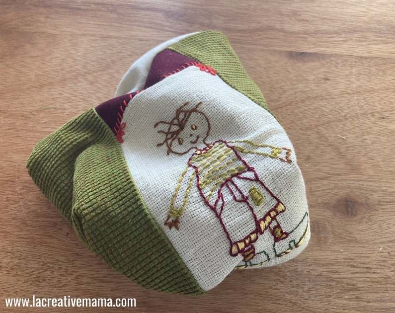 turning an embroidered pillow inside out