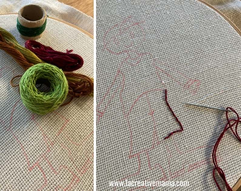 Placing the embroidery on the hoop. Embroidering the pillow using a backstitch