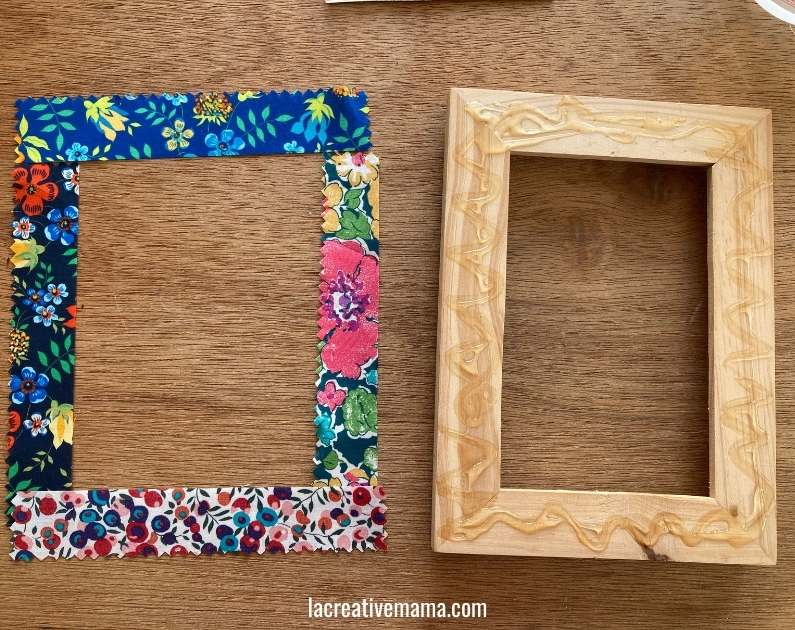 How to decorate a wooden frame with fabric scraps tutorial 8