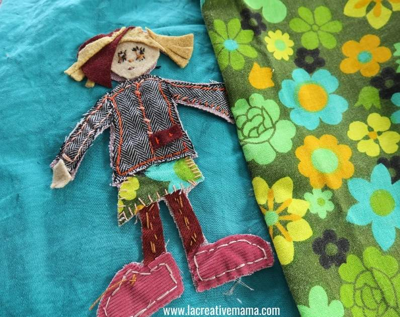 using a girl applique template to make a quilted pillow