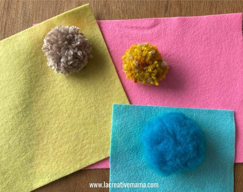 pom poms and felted fabric