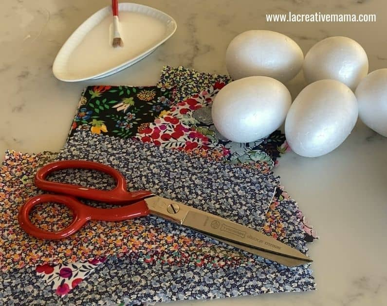 polystyrene easter eggs decoration with fabric scraps