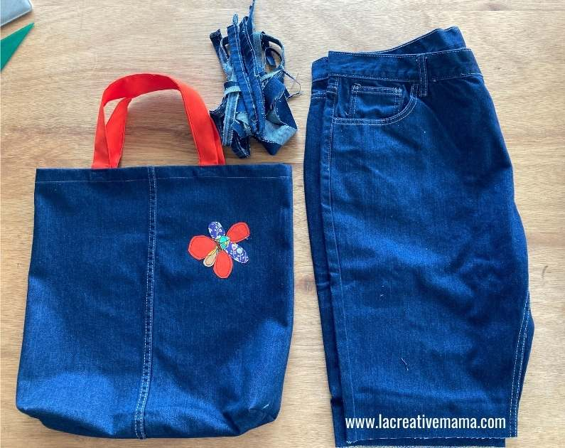 finished tote bag from an old pair of jeans